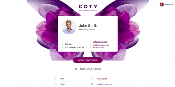 Новость проекта. Coty внедряет визитки DROP от Resonance Software